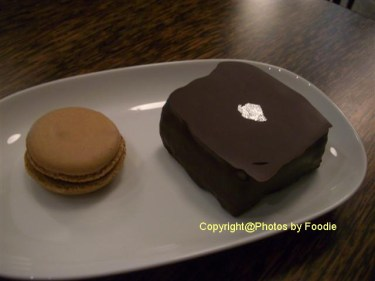 Chocolate Succe Cake and Coffee Macaron at Thierry Chocolaterie Patisserie Cafe in Vancouver