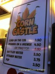Menu at Corn Castle at PNE in Vancouver