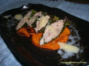 Swiss Chard Sausage, Yam, Dijon Gravy